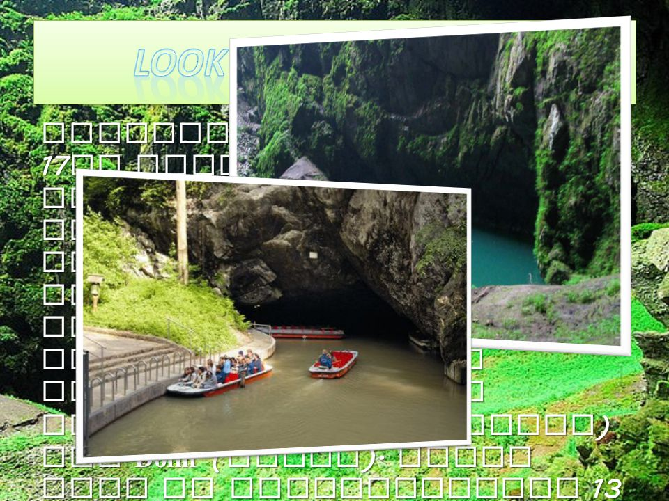 Macocha Abyss ( named in 17 th century ) was created by fall of ceiling of huge cave hole. That s why its bottom is covered by debris. The river Punkv