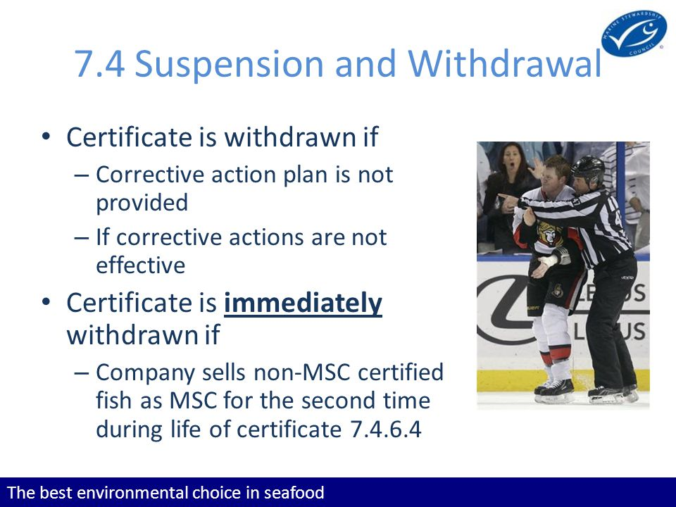 The best environmental choice in seafood 7.4 Suspension and Withdrawal Certificate is withdrawn if – Corrective action plan is not provided – If corre