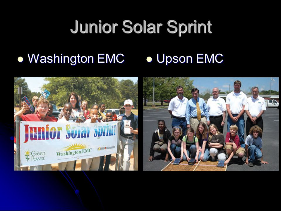 Junior Solar Sprint Washington EMC Washington EMC Upson EMC Upson EMC