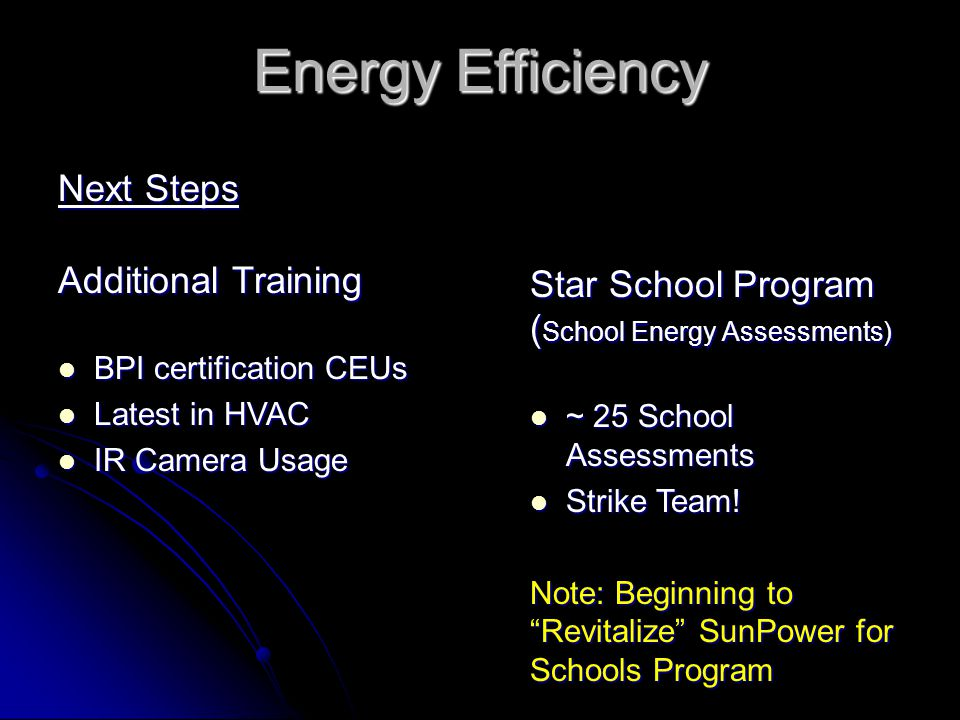 Energy Efficiency Next Steps Additional Training BPI certification CEUs BPI certification CEUs Latest in HVAC Latest in HVAC IR Camera Usage IR Camera Usage Star School Program ( School Energy Assessments) ~ 25 School Assessments ~ 25 School Assessments Strike Team.