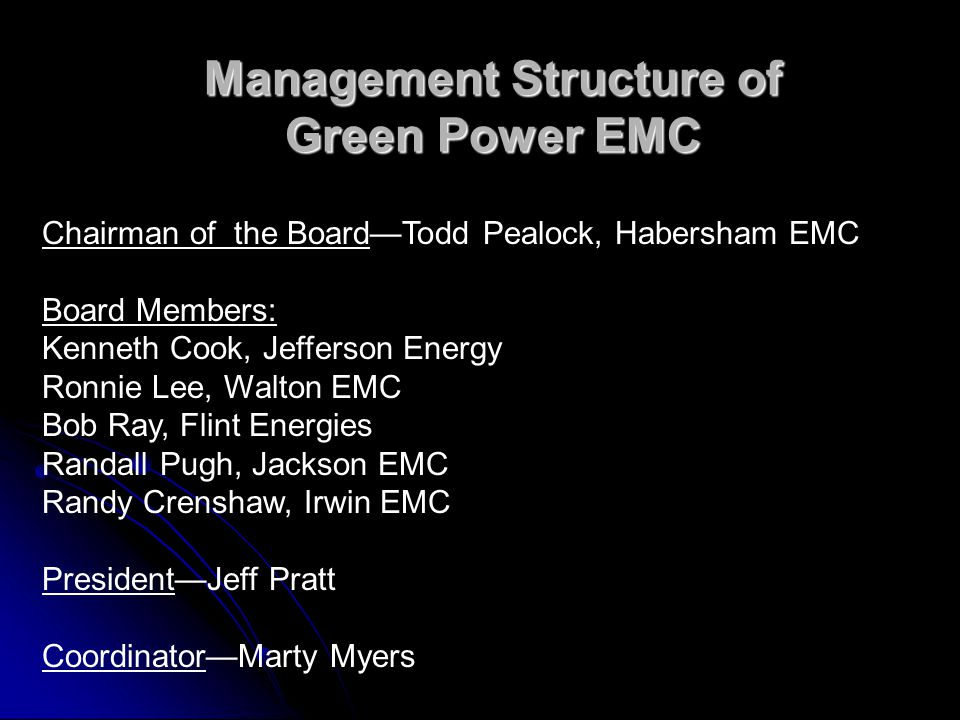 Chairman of the BoardTodd Pealock, Habersham EMC Board Members: Kenneth Cook, Jefferson Energy Ronnie Lee, Walton EMC Bob Ray, Flint Energies Randall