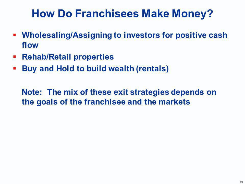 How Do Franchisees Make Money? Wholesaling/Assigning to investors for positive cash flow Rehab/Retail properties Buy and Hold to build wealth (rentals