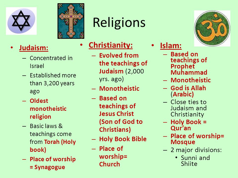 Religions Judaism: – Concentrated in Israel – Established more than 3,200 years ago – Oldest monotheistic religion – Basic laws & teachings come from