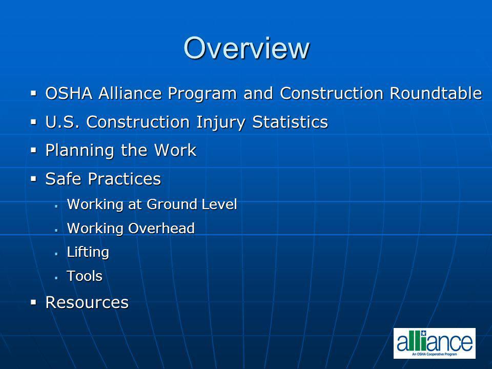 Overview OSHA Alliance Program and Construction Roundtable OSHA Alliance Program and Construction Roundtable U.S. Construction Injury Statistics U.S.