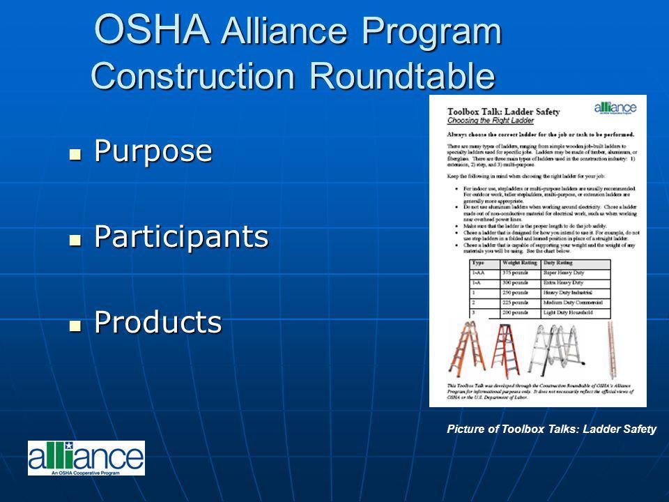 OSHA Alliance Program Construction Roundtable OSHA Alliance Program Construction Roundtable Purpose Purpose Participants Participants Products Product
