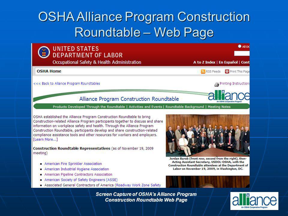Screen Capture of OSHAs Alliance Program Construction Roundtable Web Page OSHA Alliance Program Construction Roundtable – Web Page