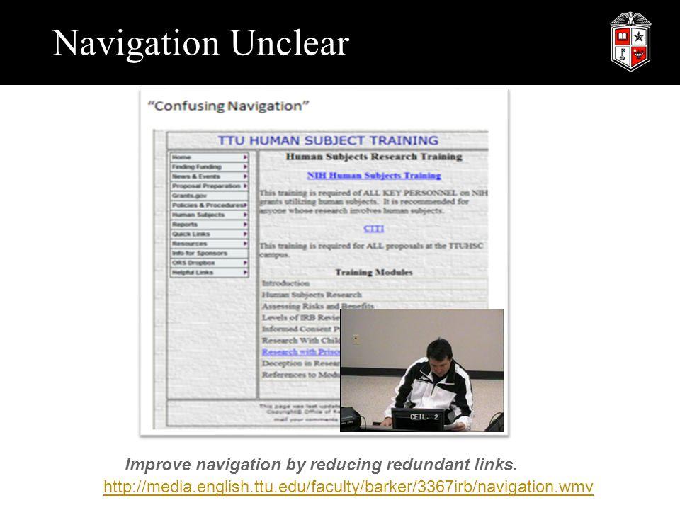 Navigation Unclear http://media.english.ttu.edu/faculty/barker/3367irb/navigation.wmv Improve navigation by reducing redundant links.