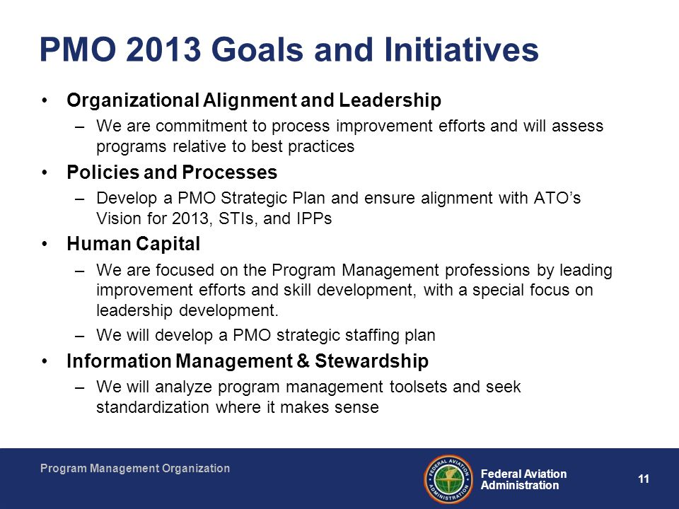 11 Federal Aviation Administration Program Management Organization PMO 2013 Goals and Initiatives Organizational Alignment and Leadership –We are comm