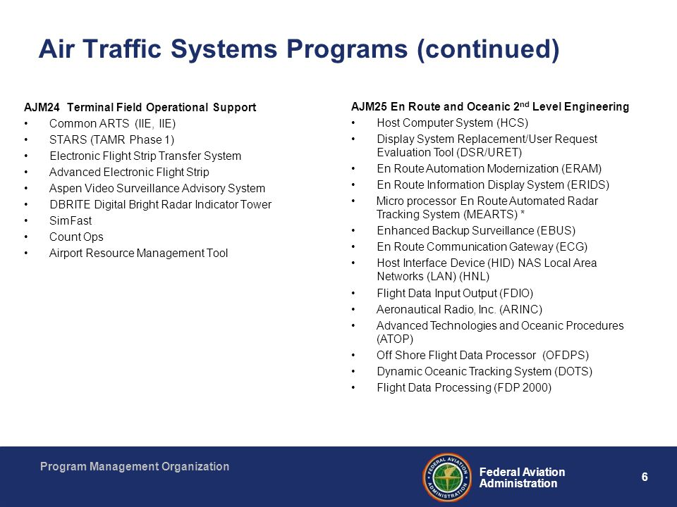 6 Federal Aviation Administration Program Management Organization Air Traffic Systems Programs (continued) AJM24 Terminal Field Operational Support Co