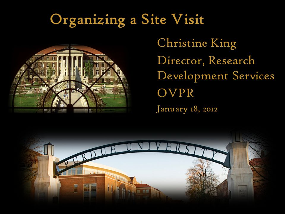 Organizing a Site Visit Here Christine King Director, Research Development Services OVPR January 18, 2012