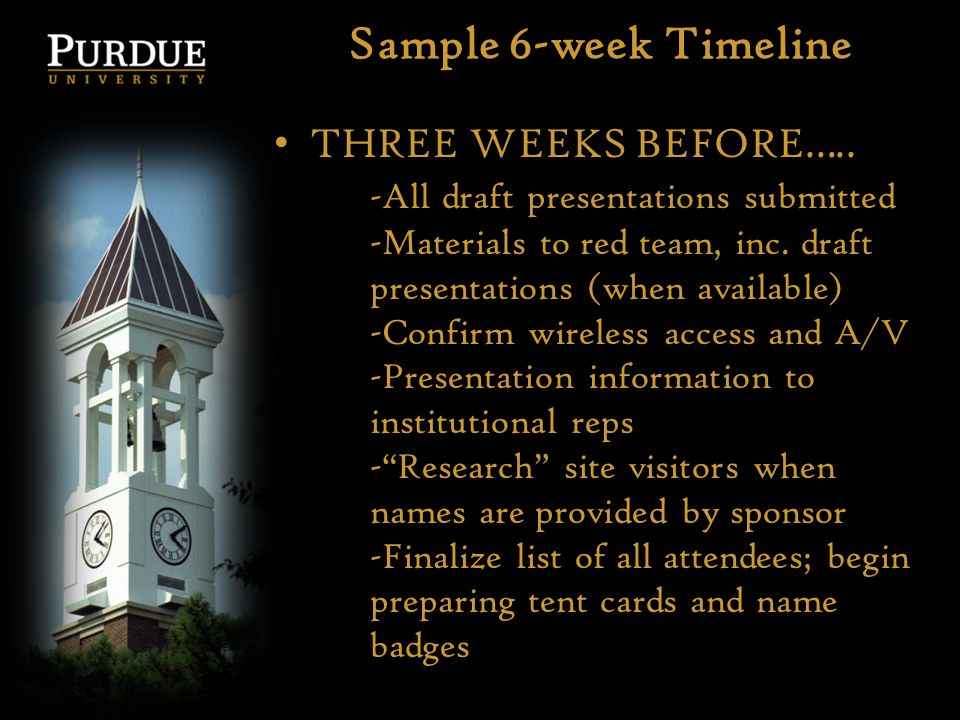 Sample 6-week Timeline THREE WEEKS BEFORE….. -All draft presentations submitted -Materials to red team, inc. draft presentations (when available) -Con