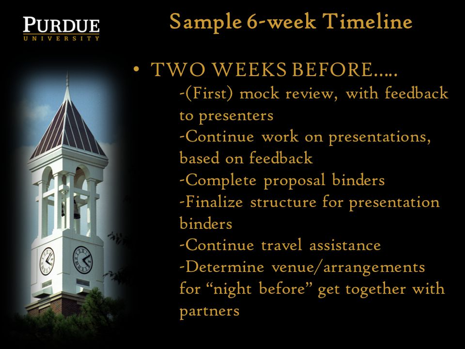 Sample 6-week Timeline TWO WEEKS BEFORE….. -(First) mock review, with feedback to presenters -Continue work on presentations, based on feedback -Compl