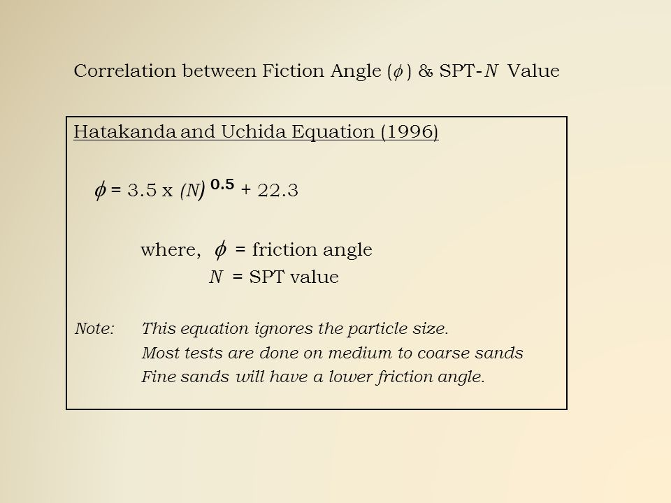 Correlation between Fiction Angle ( ) & SPT- N Value Hatakanda and Uchida Equation (1996) = 3.5 x (N ) 0.5 + 22.3 where, = friction angle N = SPT valu