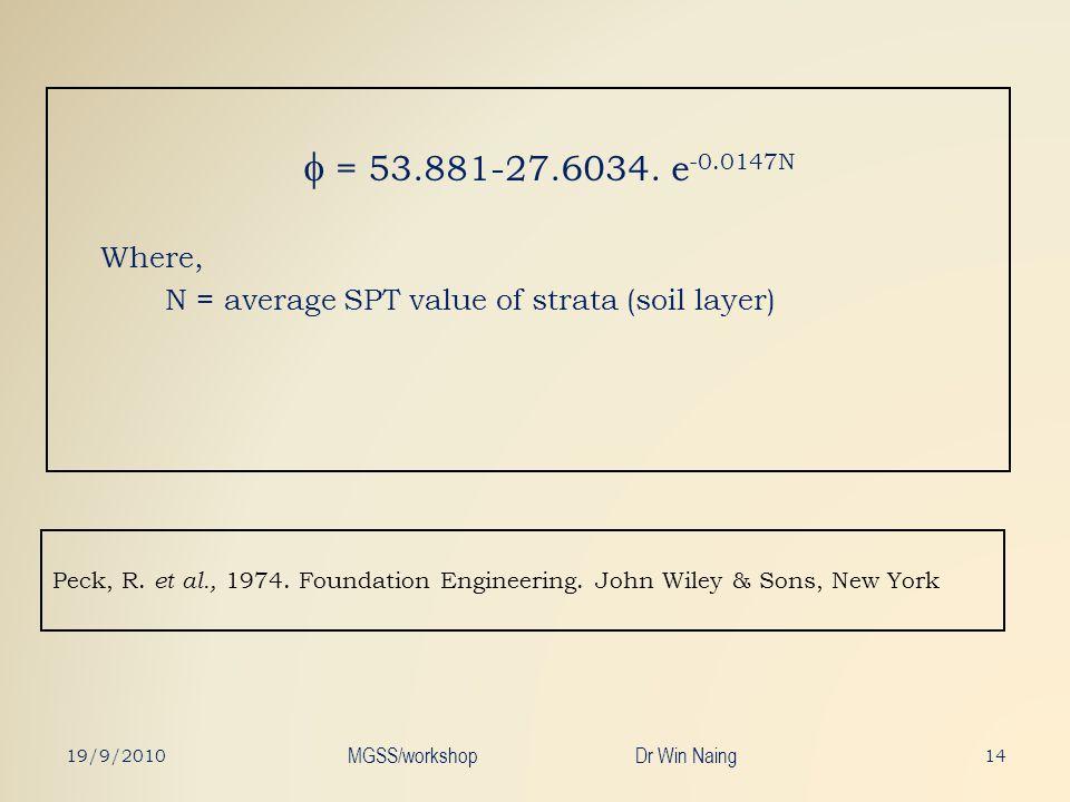 Peck, R. et al., 1974. Foundation Engineering. John Wiley & Sons, New York = 53.881-27.6034. e -0.0147N Where, N = average SPT value of strata (soil l