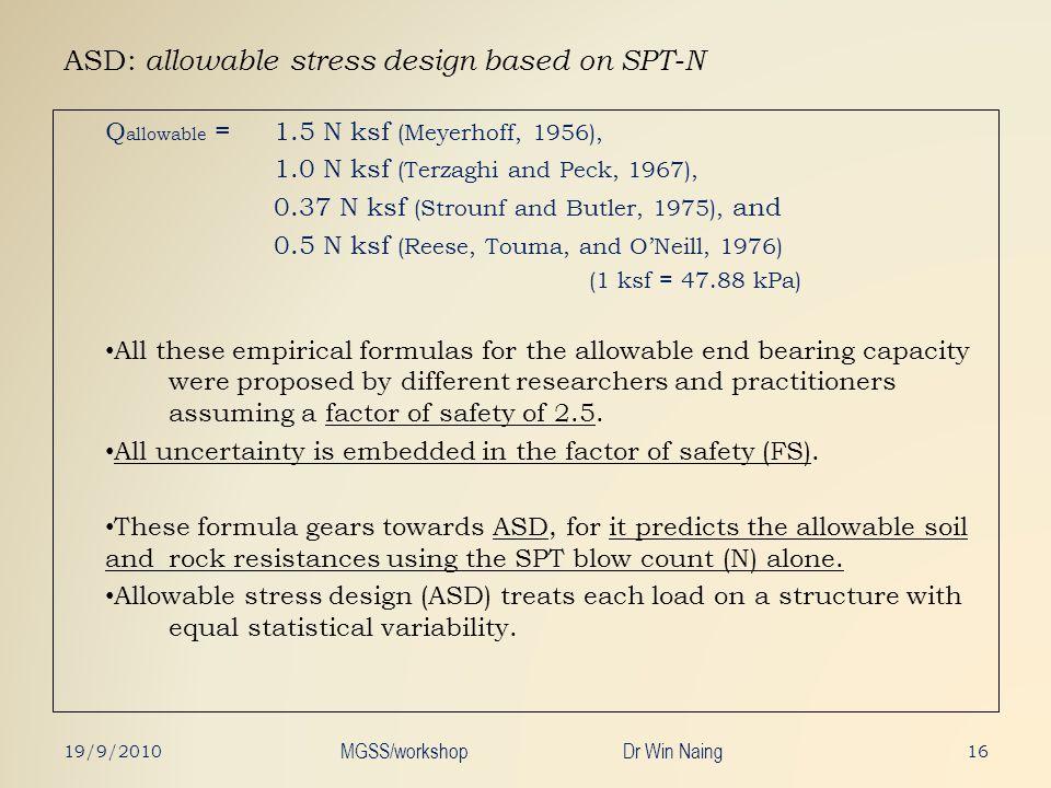 ASD: allowable stress design based on SPT-N Q allowable = 1.5 N ksf (Meyerhoff, 1956), 1.0 N ksf (Terzaghi and Peck, 1967), 0.37 N ksf (Strounf and Bu