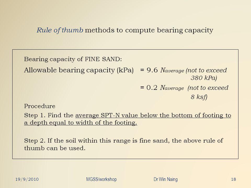 Rule of thumb methods to compute bearing capacity Bearing capacity of FINE SAND: Allowable bearing capacity (kPa) = 9.6 N average (not to exceed 380 k