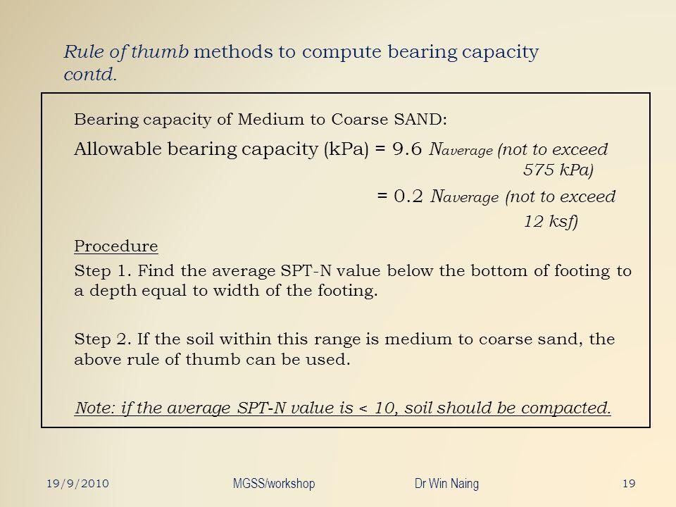 Rule of thumb methods to compute bearing capacity contd. Bearing capacity of Medium to Coarse SAND: Allowable bearing capacity (kPa) = 9.6 N average (