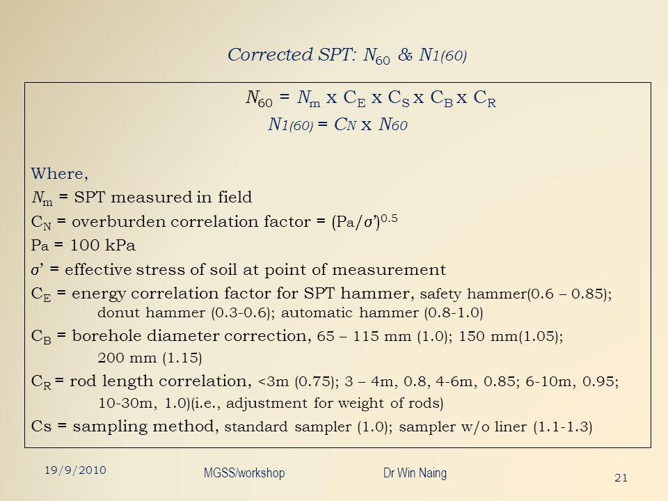 Corrected SPT: N 60 & N 1(60) N 60 = N m x C E x C S x C B x C R N 1 (60) = C N x N 60 Where, N m = SPT measured in field C N = overburden correlation