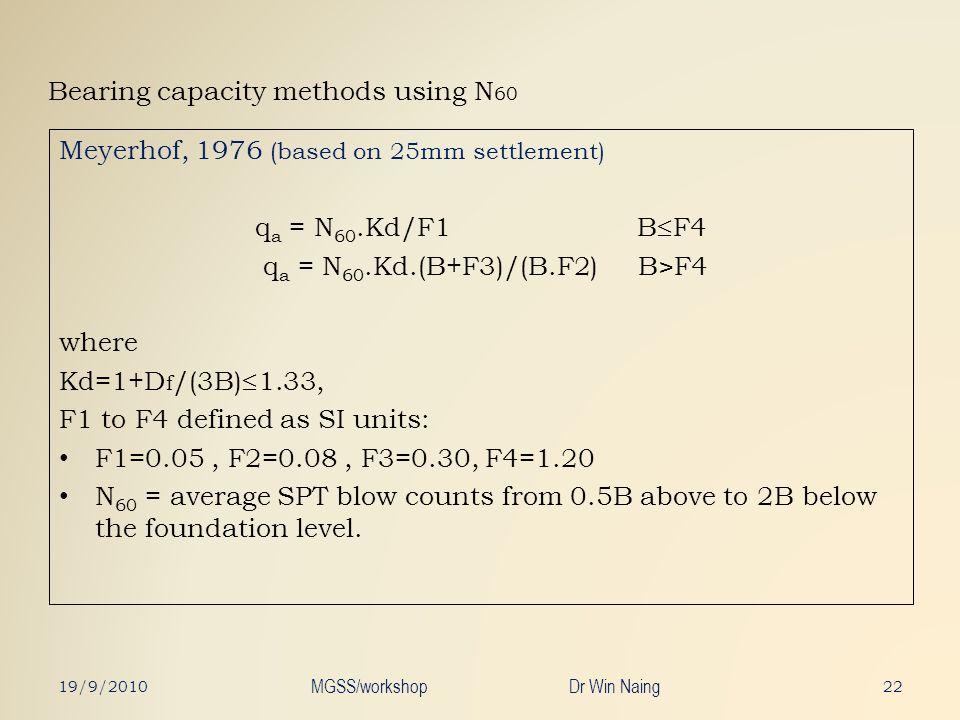 Bearing capacity methods using N 60 Meyerhof, 1976 (based on 25mm settlement) q a = N 60.Kd/F1 B F4 q a = N 60.Kd.(B+F3)/(B.F2) B>F4 where Kd=1+D f /(
