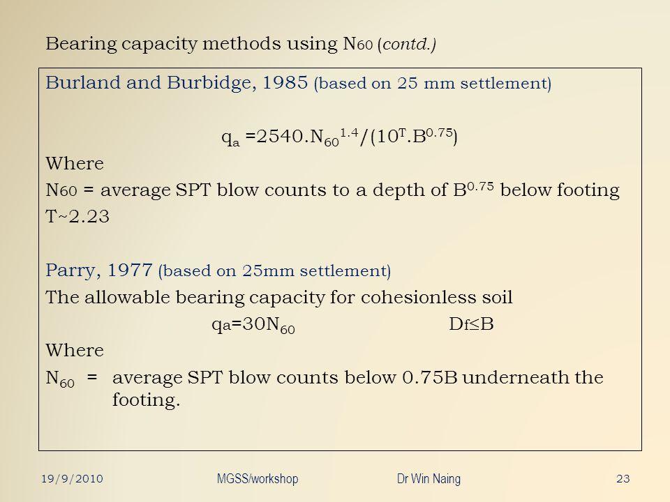 Bearing capacity methods using N 60 ( contd.) Burland and Burbidge, 1985 (based on 25 mm settlement) q a =2540.N 60 1.4 /(10 T.B 0.75 ) Where N 60 = a