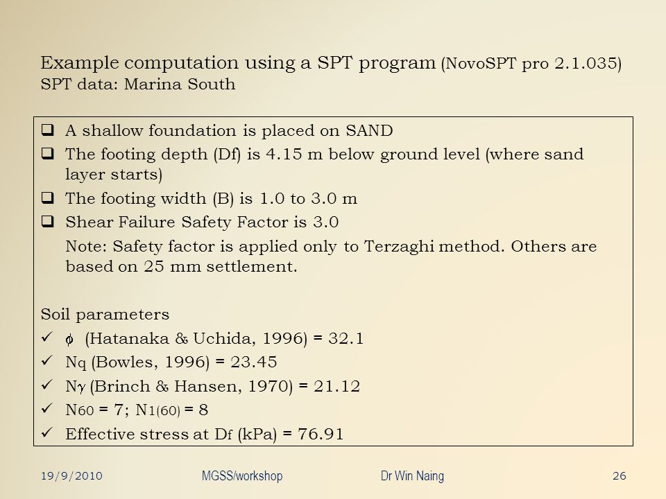 Example computation using a SPT program (NovoSPT pro 2.1.035) SPT data: Marina South A shallow foundation is placed on SAND The footing depth (Df) is