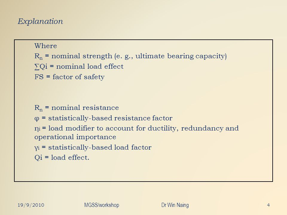 Explanation Where R n = nominal strength (e. g., ultimate bearing capacity) Qi = nominal load effect FS = factor of safety R n = nominal resistance φ