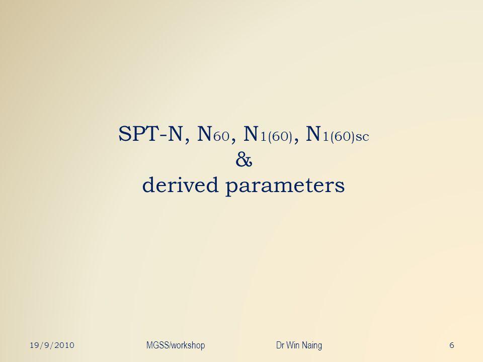 SPT-N, N 60, N 1(60), N 1(60)sc & derived parameters 619/9/2010 MGSS/workshop Dr Win Naing