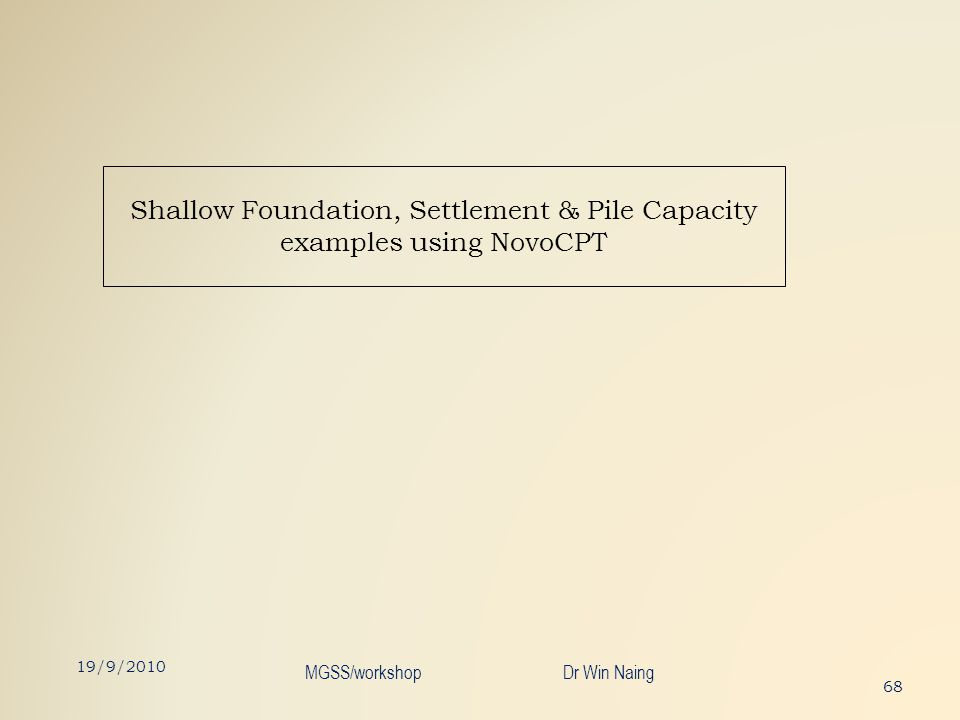 Shallow Foundation, Settlement & Pile Capacity examples using NovoCPT 68 19/9/2010 MGSS/workshop Dr Win Naing