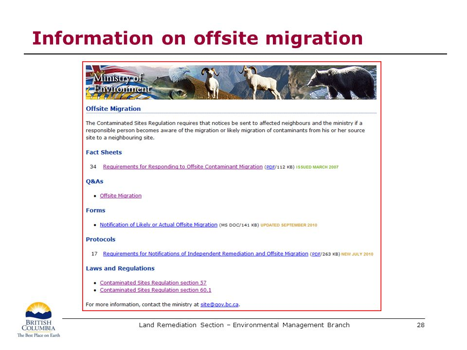 Land Remediation Section – Environmental Management Branch Information on offsite migration 28