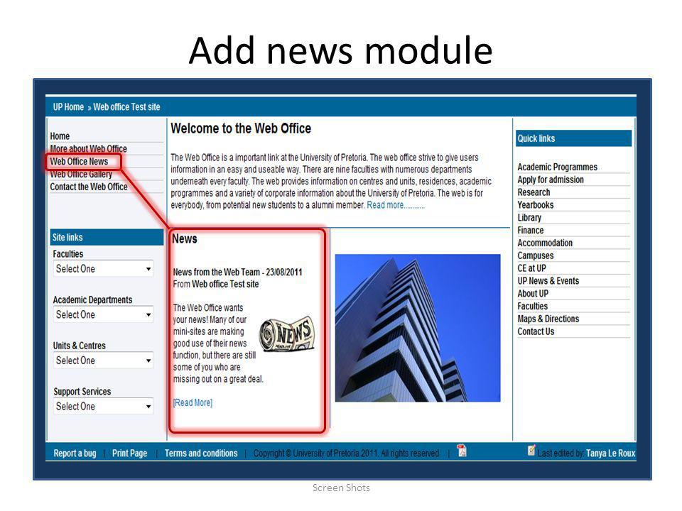 Add news module Screen Shots