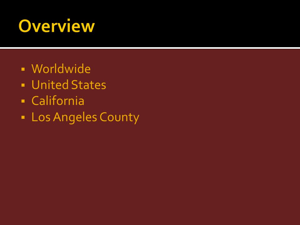 Worldwide United States California Los Angeles County