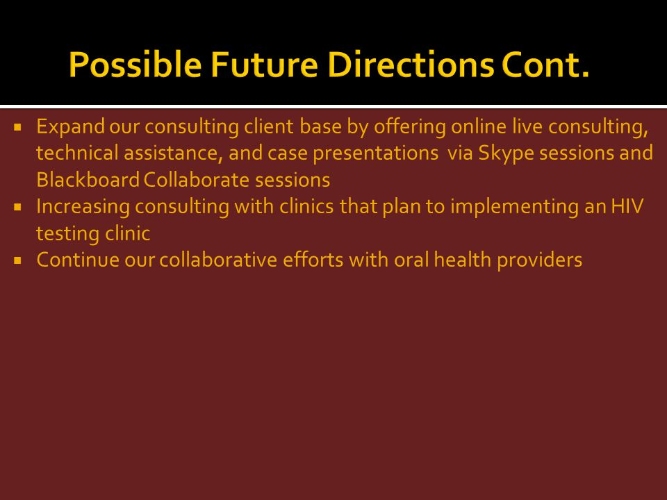 Expand our consulting client base by offering online live consulting, technical assistance, and case presentations via Skype sessions and Blackboard C