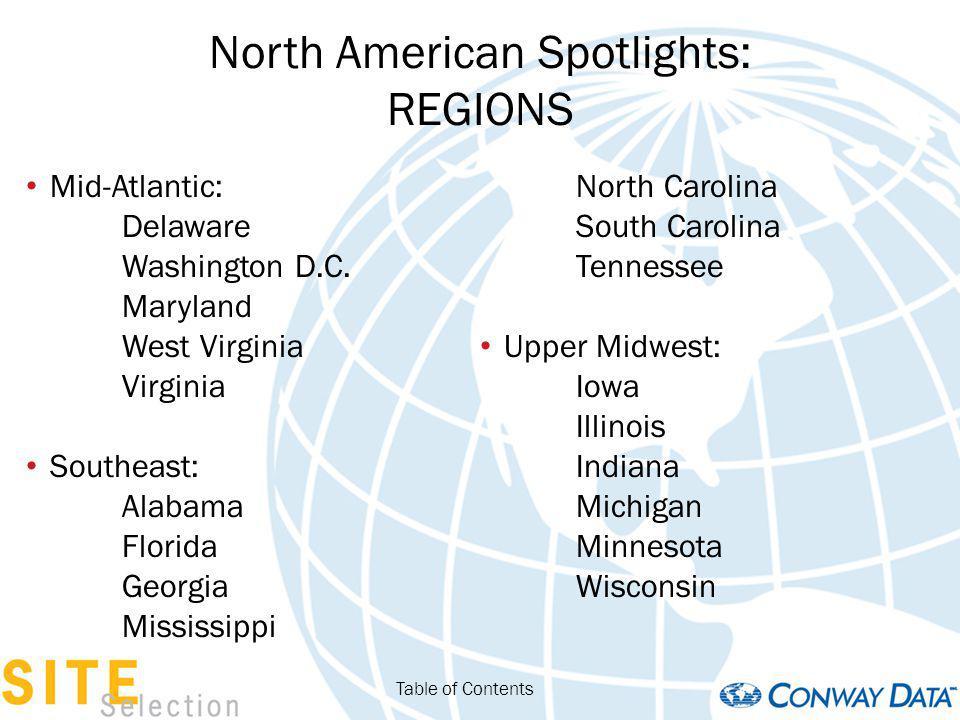 North American Spotlights: REGIONS Mid-Atlantic: Delaware Washington D.C.