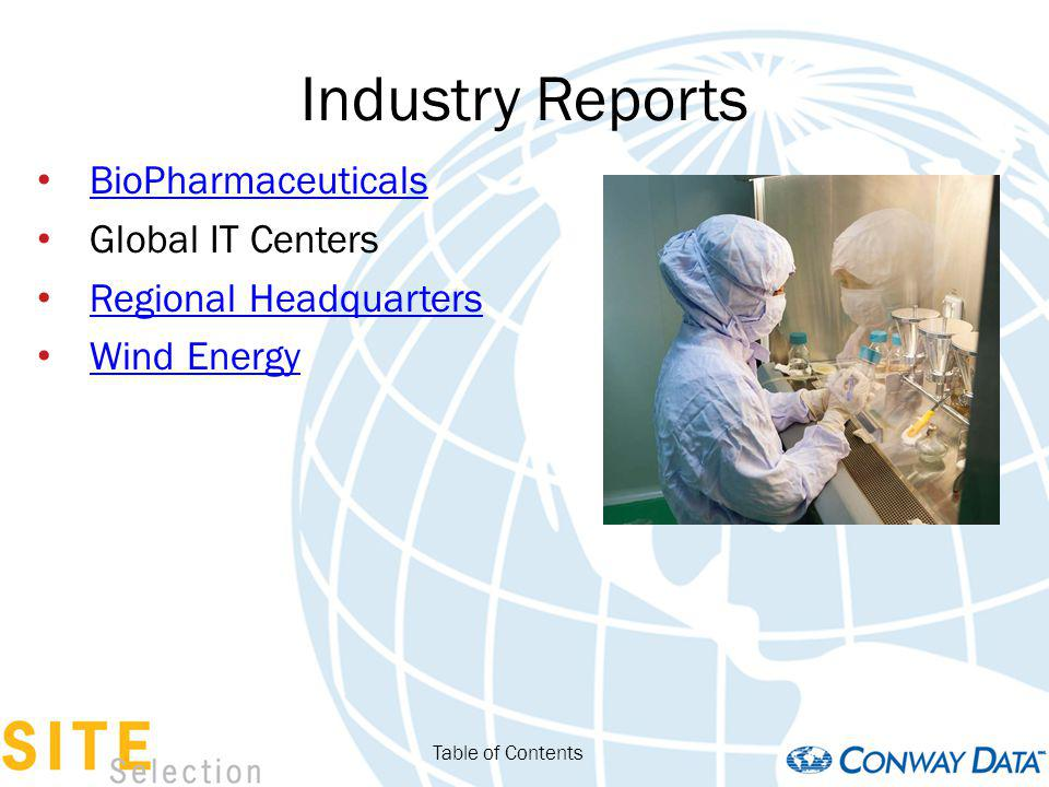 Industry Reports BioPharmaceuticals Global IT Centers Regional Headquarters Wind Energy Table of Contents
