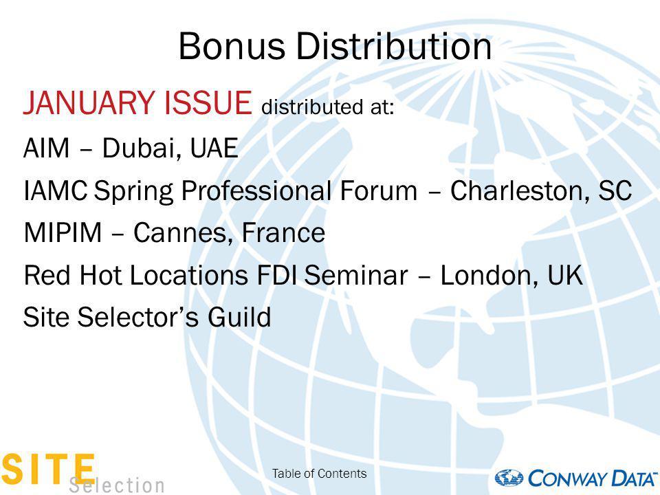 Bonus Distribution JANUARY ISSUE distributed at: AIM – Dubai, UAE IAMC Spring Professional Forum – Charleston, SC MIPIM – Cannes, France Red Hot Locations FDI Seminar – London, UK Site Selectors Guild Table of Contents