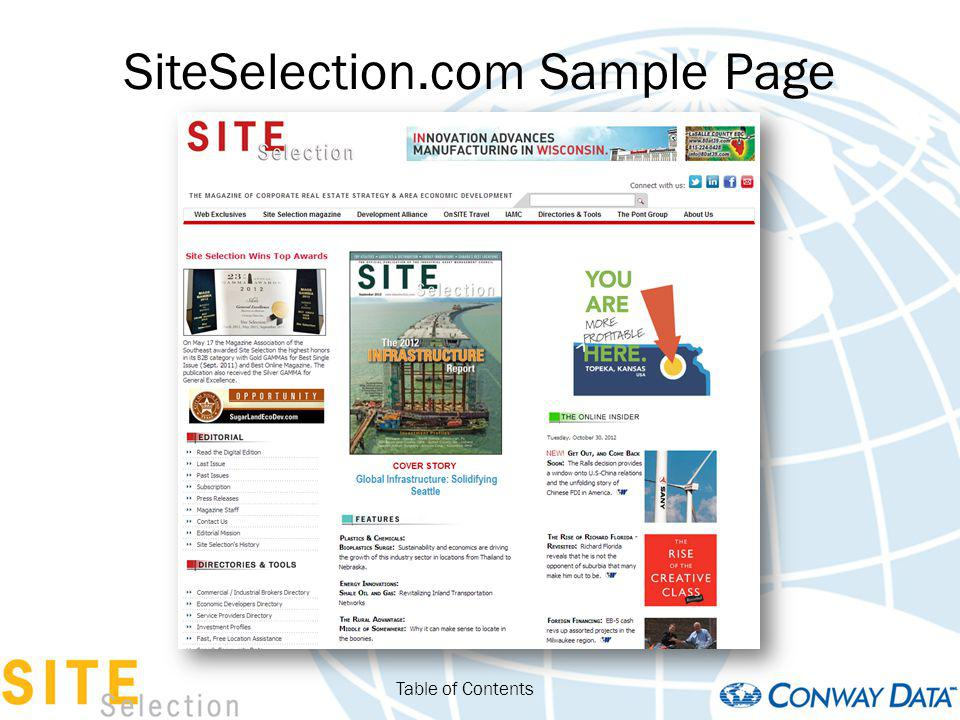 SiteSelection.com Sample Page Table of Contents