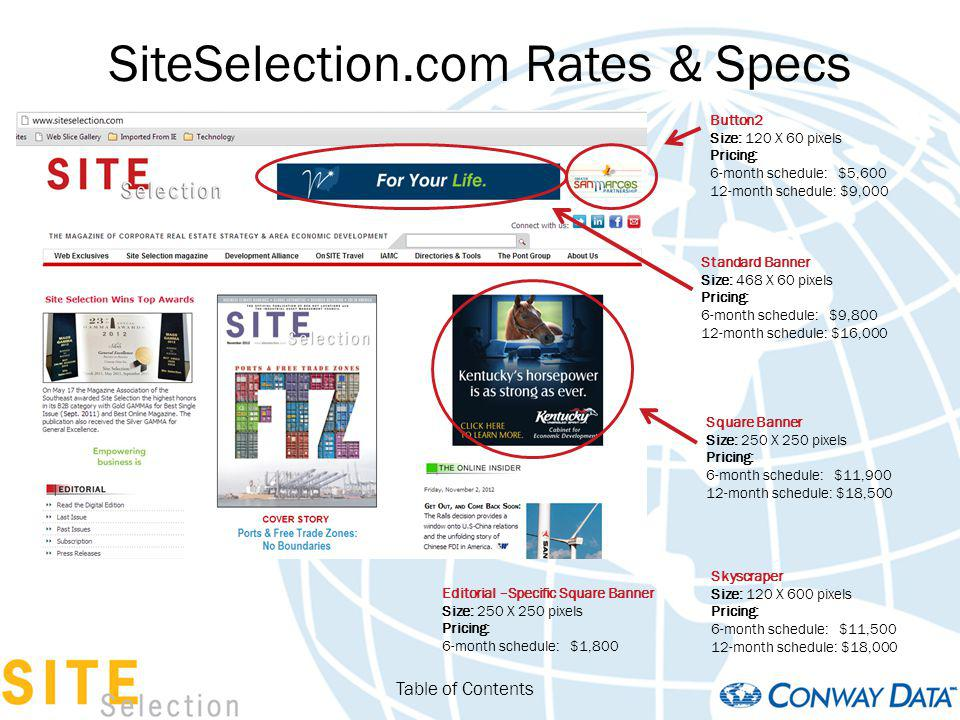 SiteSelection.com Rates & Specs Table of Contents Standard Banner Size: 468 X 60 pixels Pricing: 6-month schedule: $9,800 12-month schedule: $16,000 B