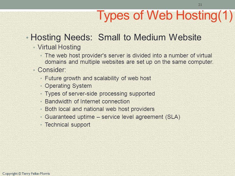 Copyright © Terry Felke-Morris Types of Web Hosting(1) Hosting Needs: Small to Medium Website Virtual Hosting The web host provider's server is divide