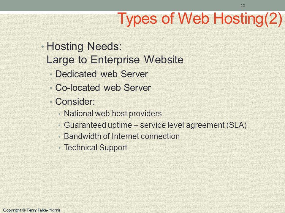 Copyright © Terry Felke-Morris Types of Web Hosting(2) Hosting Needs: Large to Enterprise Website Dedicated web Server Co-located web Server Consider: