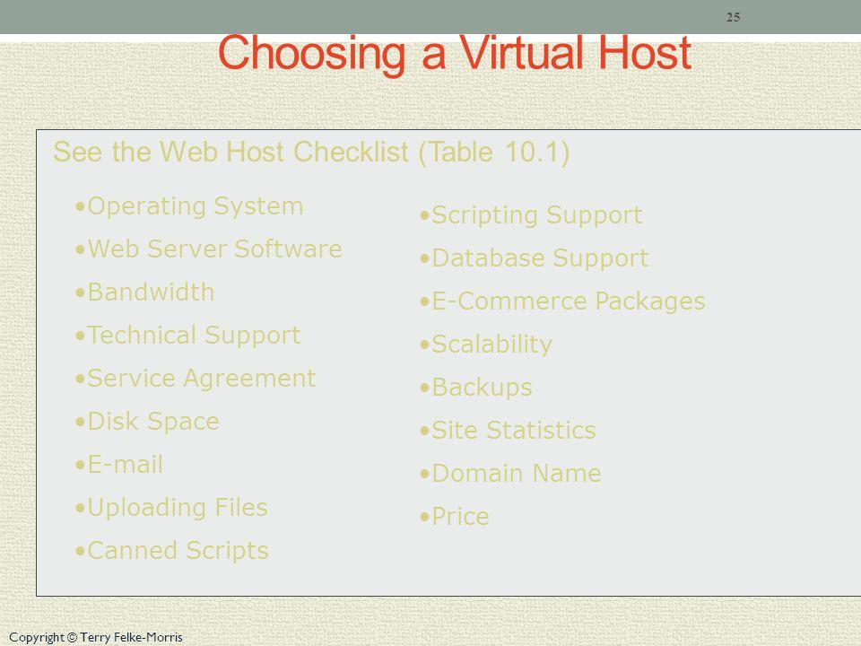 Copyright © Terry Felke-Morris Choosing a Virtual Host See the Web Host Checklist (Table 10.1) 25 Operating System Web Server Software Bandwidth Techn