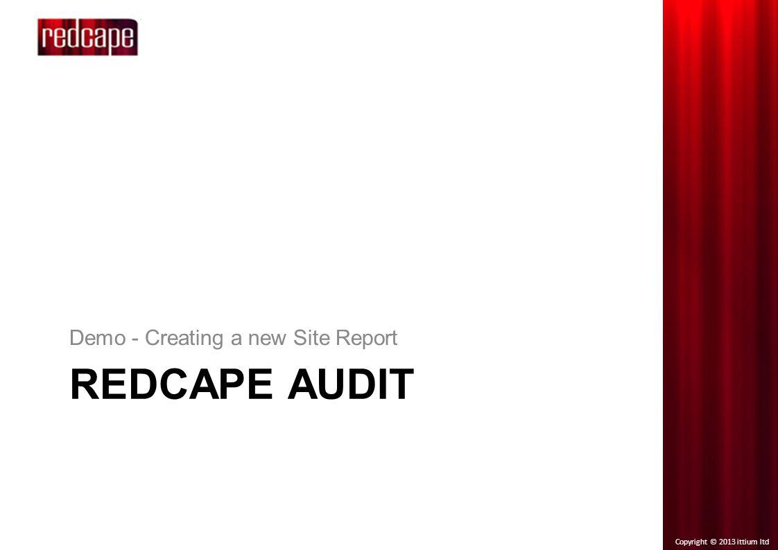 Copyright © 2013 ittium ltd REDCAPE AUDIT Demo - Creating a new Site Report