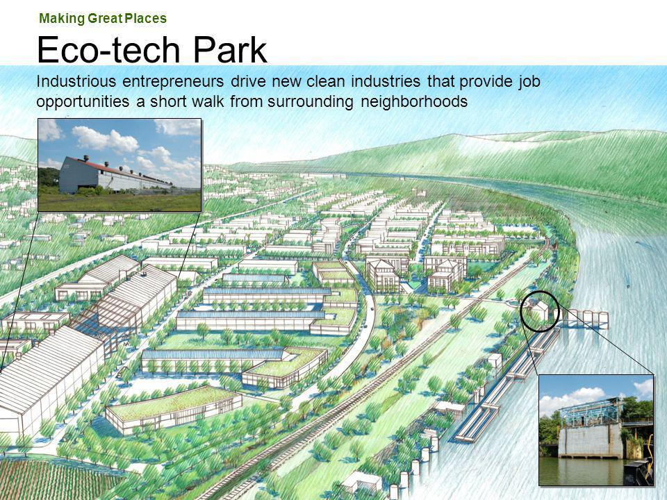 Eco-tech Park Industrious entrepreneurs drive new clean industries that provide job opportunities a short walk from surrounding neighborhoods Making G
