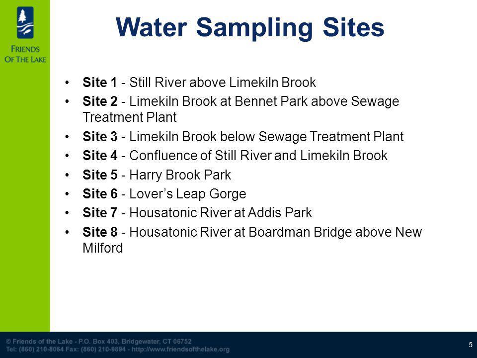 5 Water Sampling Sites Site 1 - Still River above Limekiln Brook Site 2 - Limekiln Brook at Bennet Park above Sewage Treatment Plant Site 3 - Limekiln