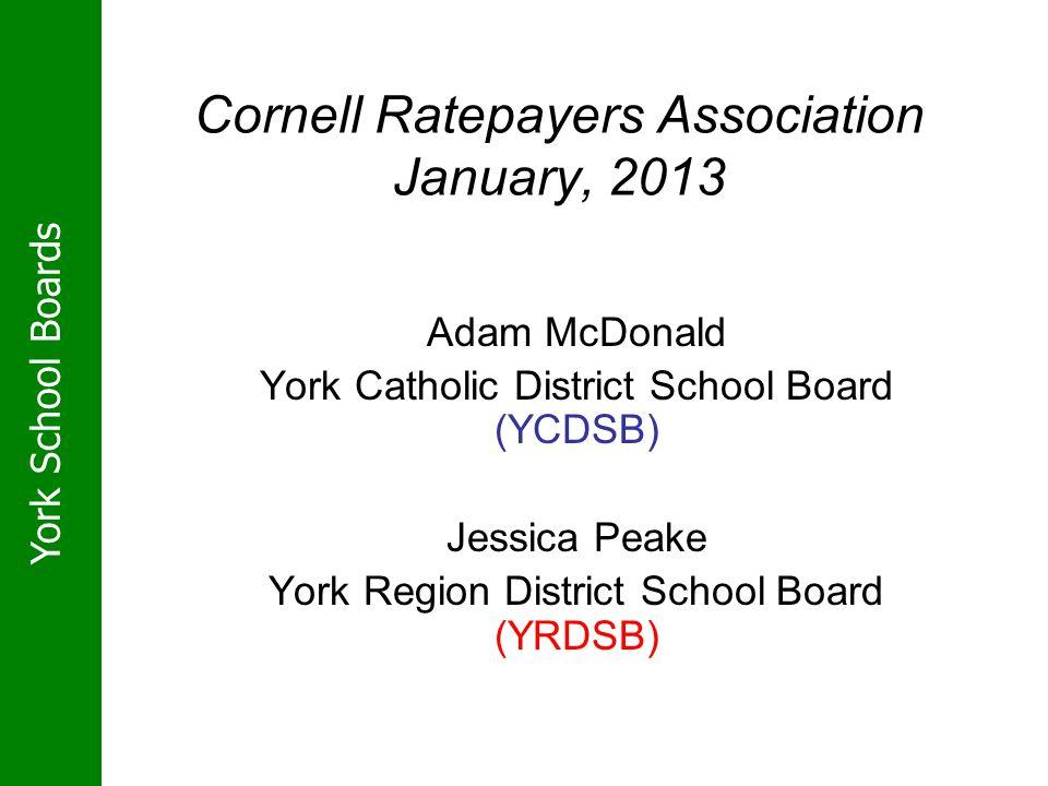 York School Boards Cornell Ratepayers Association January, 2013 Adam McDonald York Catholic District School Board (YCDSB) Jessica Peake York Region District School Board (YRDSB)