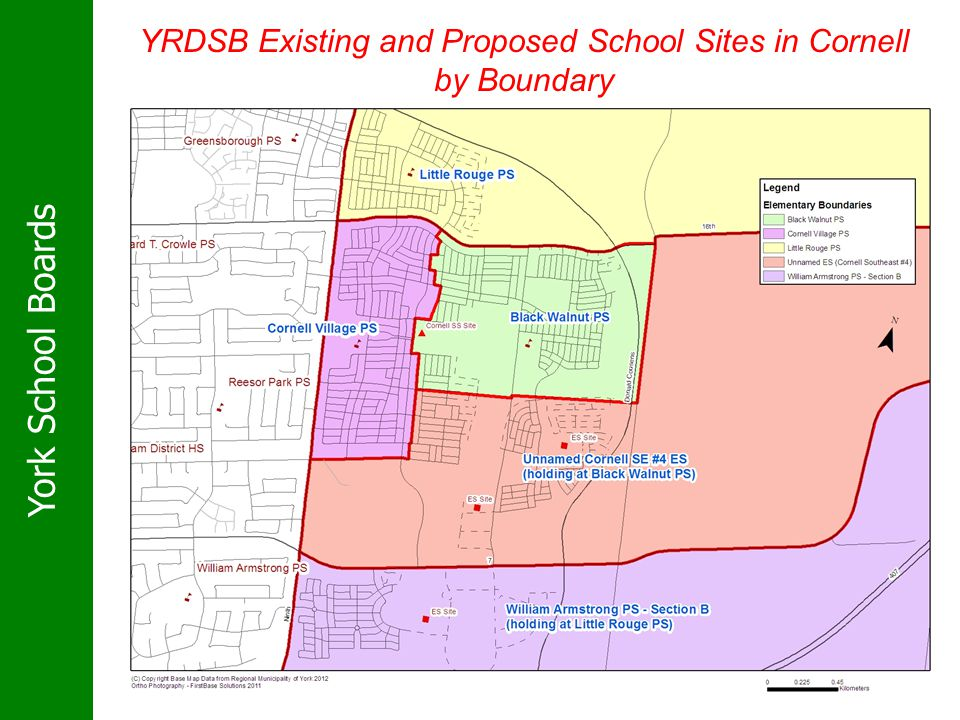 York School Boards YRDSB Existing and Proposed School Sites in Cornell by Boundary