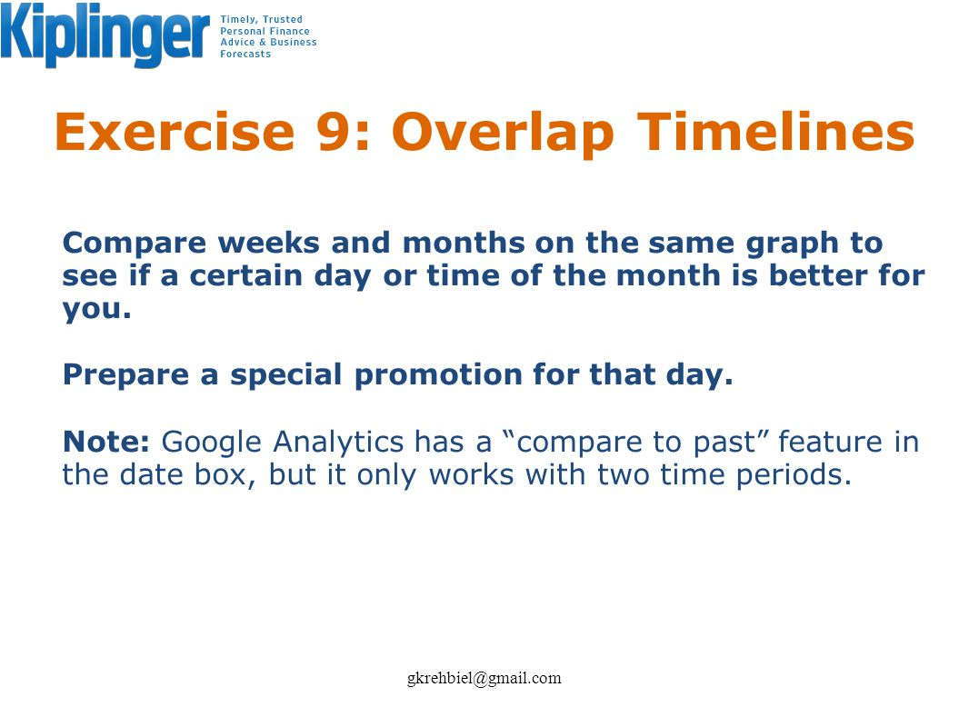 Exercise 9: Overlap Timelines Compare weeks and months on the same graph to see if a certain day or time of the month is better for you. Prepare a spe