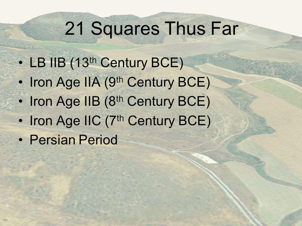 21 Squares Thus Far LB IIB (13 th Century BCE) Iron Age IIA (9 th Century BCE) Iron Age IIB (8 th Century BCE) Iron Age IIC (7 th Century BCE) Persian Period