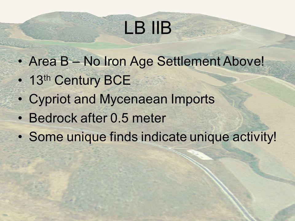 LB IIB Area B – No Iron Age Settlement Above.
