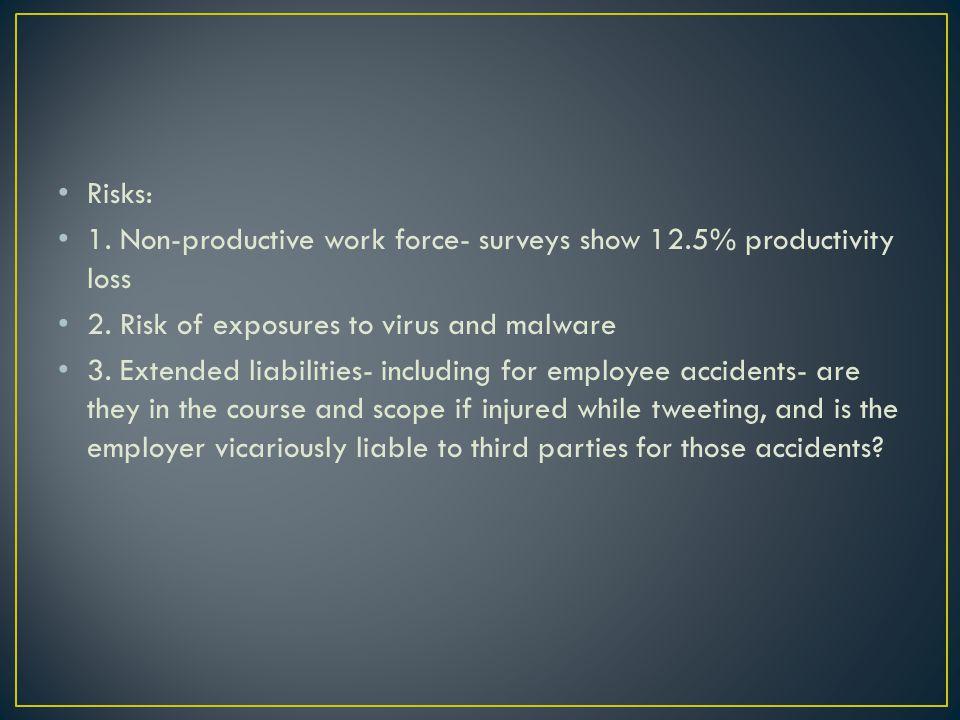 Risks: 1. Non-productive work force- surveys show 12.5% productivity loss 2.