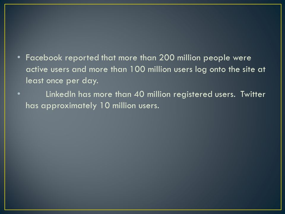Facebook reported that more than 200 million people were active users and more than 100 million users log onto the site at least once per day.